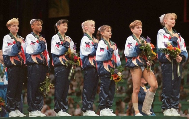 Magnificent Seven: The US Women Gymnastics Team. Domenique Moceanu is third from right.
