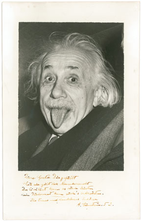 Albert Einstein sticking his tongue out. Photograph by Arthur Sasse.