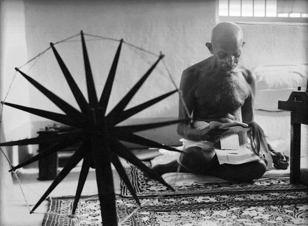 Gandhi at his spinning wheel. Photograph by Margaret Bourke-White
