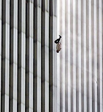 The Falling Man: A man falling from the North Tower of the World Trade Center on 9/11. Photograph by Richard Drew.