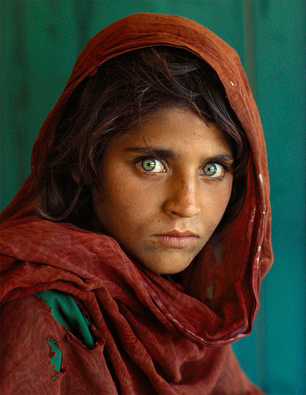 Afghan Girl is a photograph of Sharbat Gula taken by Steve McCurry. It was first published in National Geographic Magazine.