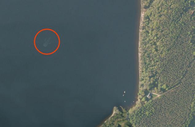 Loch Ness Monster as seen using Apple satellite map app.