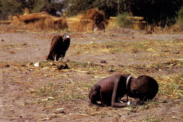 A starving Sudanese girl who collapsed on her way to a feeding center while a vulture waited nearby. Photograph by Kevin Carter.