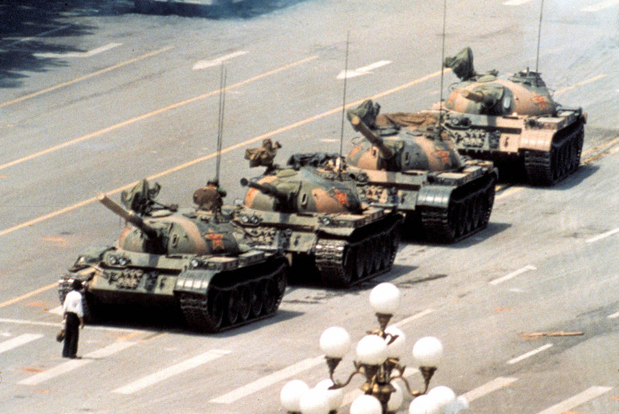 "The ""Tank Man"" on Tienanmen Square. Photographer Jeff Widener."