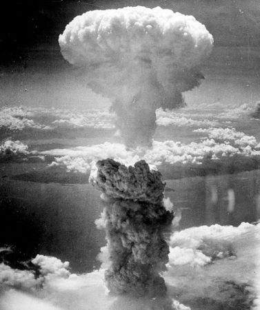 Mushroom cloud over Nagasaki. Photograph was taken from one of the B-29 Superfortresses plane used in the attack.