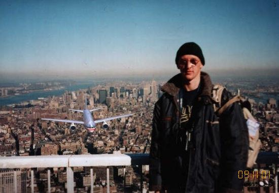 The Accidental Tourist. Fake photograph of Peter Guzli showing a plane about to crash into the WTC tower.