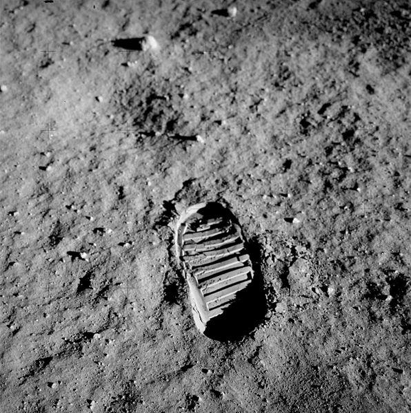 Bootprint of Edwin Buzz Aldrin on moon's surface.