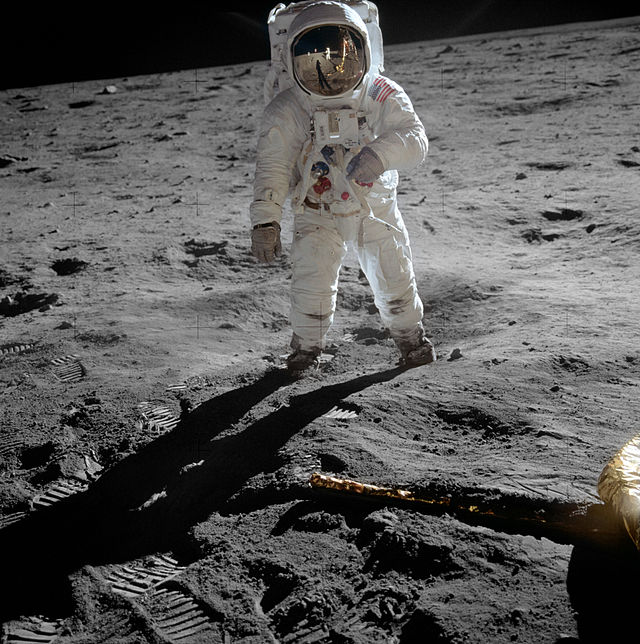 Edwin Aldrin on Moon. Photograph by Neil Armstrong.