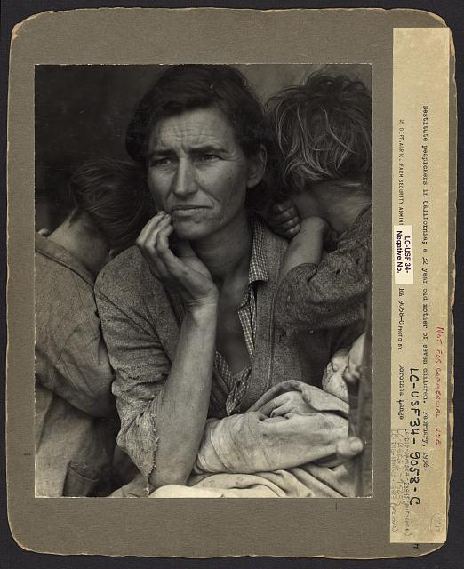 "Original version of ""Migrant Mother"" as kept in the Library of Congress."