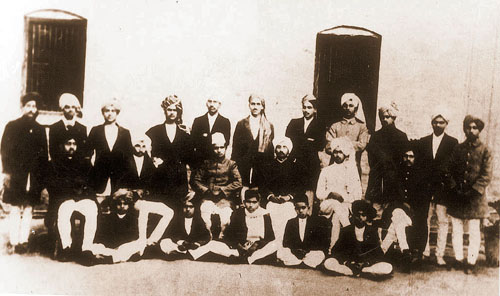 Bhagat Singh, standing fourth from right, in National College in 1923. The photograph shows other students and staff of the college that was founded by Lala Lajpat Rai in 1921.