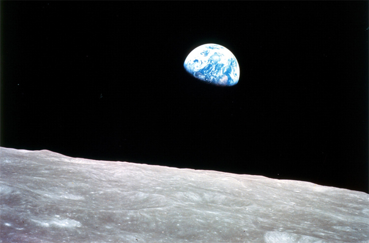 Earthrise. Look at the beauty of our planet in comparison to the dullness of moon! Photograph by William Anders.