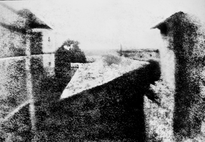 "First photograph ever. It was taken by Nicéphore Niépce and titled as ""View from the Window at Le Gras""."