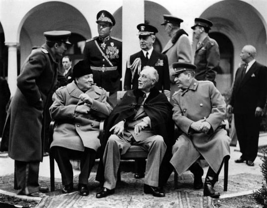 The Big Three. Churchill Roosevelt and Stalin during the Yalta Conference.