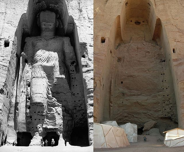 Taller Bamiyan Buddha before and after destruction.