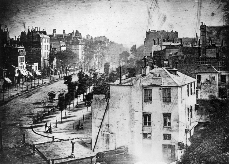 Boulevard du Temple. First ever photograph showing human beings. It was taken by Louis Daguerre in 1838