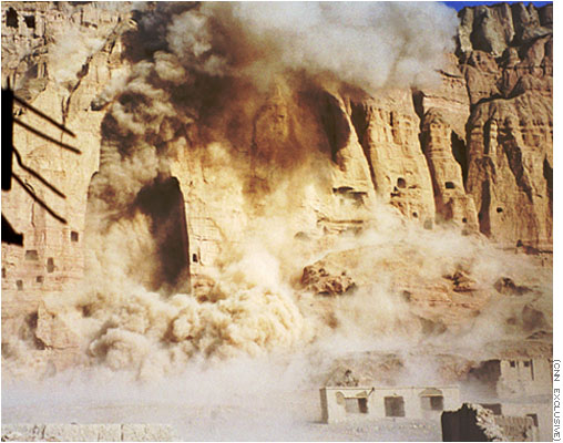 Destruction of Bamiyan Buddhas in March 2001. Photograph by CNN
