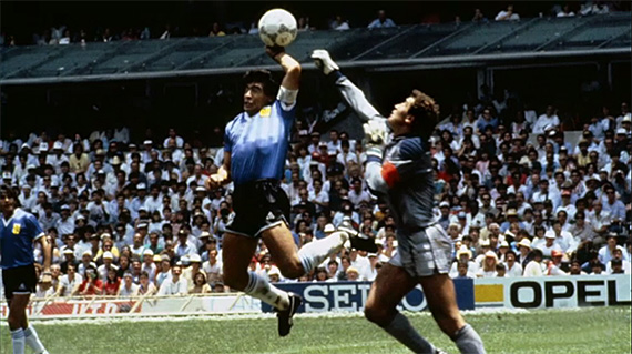"""Hand of God"" goal by Diego Maradona in Argentina v England (1986 FIFA World Cup)"