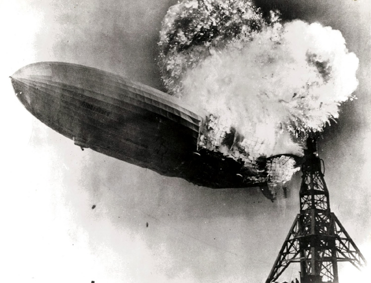 Hindenburg disaster. Burning airship Hindenburg. Photograph by Gus Pasquerella.