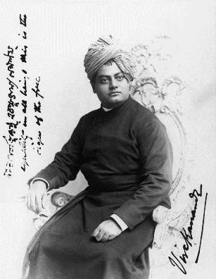 Swami Vivekananda during a photo shoot in Chicago.