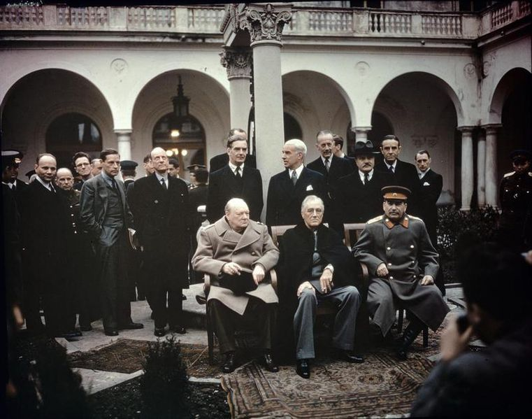 Yalta Conference. Churchill, Roosevelt and Stalin. Photograph taken by War Office of the British government.