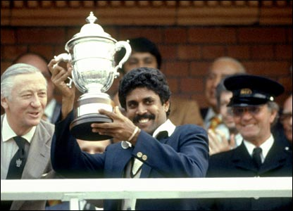 Kapil Dev with Prudential Cup (Cricket World Cup 1983).