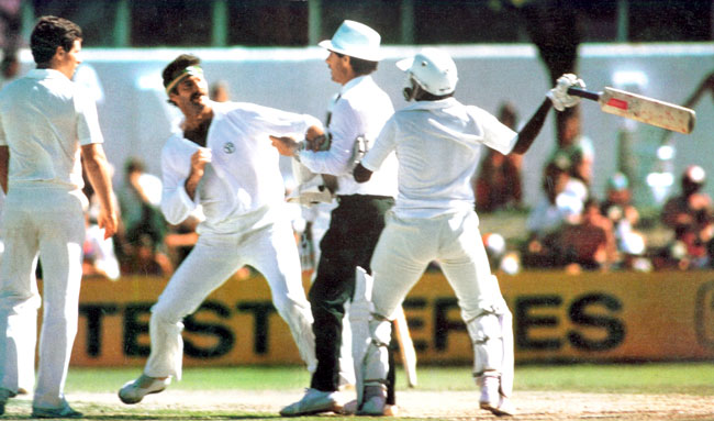 Scuffle between Dennis Lillee and Javed Miandad. Lillee kicked Miandad and Miandad showed his bat as though wanted to hit Lillee.