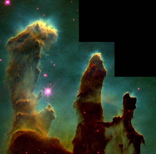 Pillars of Creation. Photograph by Jeff Hester and Paul Scowen using the Hubble Space Telescope.