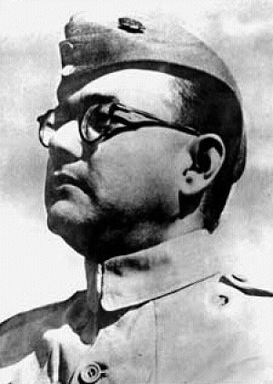 Subhash Chandra Bose in his uniform as Chief of the Indian National Army (INA). Photographer unknown.