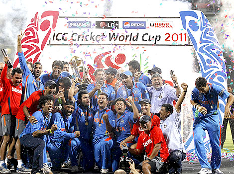 Indian cricket team after winning the 2011 ICC World Cup
