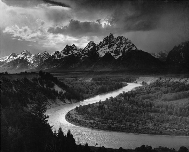 The Tetons and the Snake River. Photographer Ansel Adams