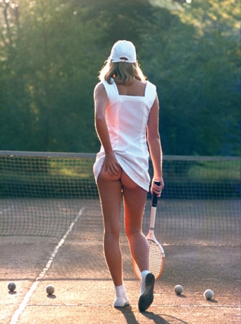 Tennis Girl is a very popular photograph often used as a poster. The photo shows young Fiona Butler. Photographer is Martin Elliot.