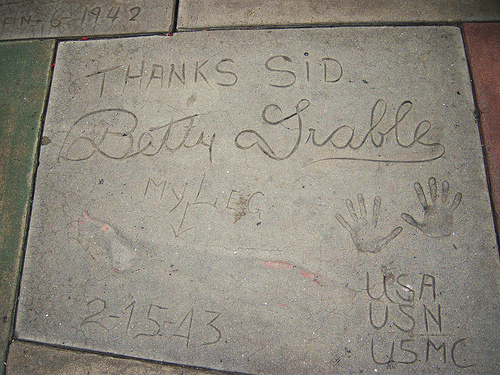 Leg-print, hand-print and signature of Betty Grable at the Grauman's Chinese Theatre.