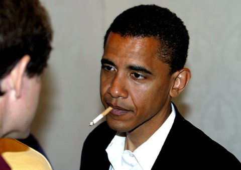Barack Obama smoking cigarette. It is a digitally altered fake photograph.