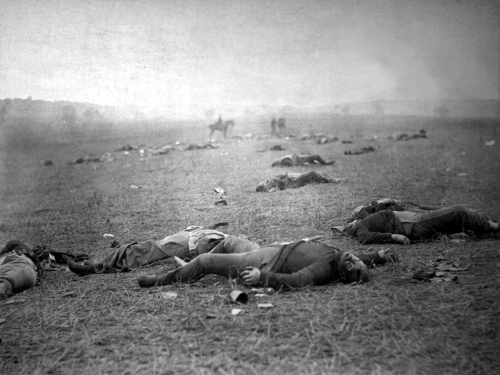 A Harvest of Death is an iconic photo taken by Timothy H. O'Sullivan on the battlefield at Gettysburg. It shows dead bodies of the Union soldiers.