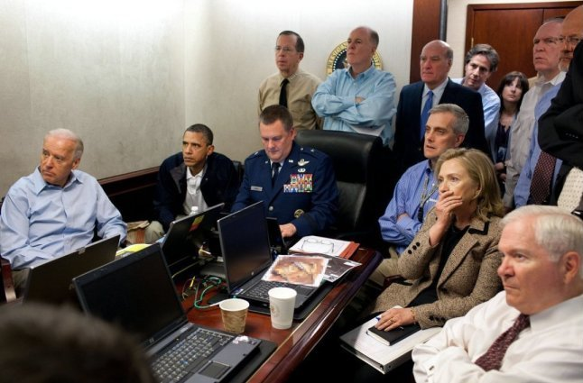 The Situation Room. President Obama and other government officials monitoring raid that killed Osama Bin Laden. Photograph by Pete Souza