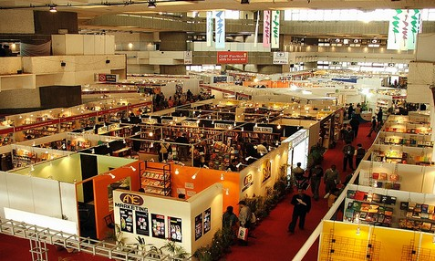 Bird's eye view of stalls in New Delhi World Book Fair.